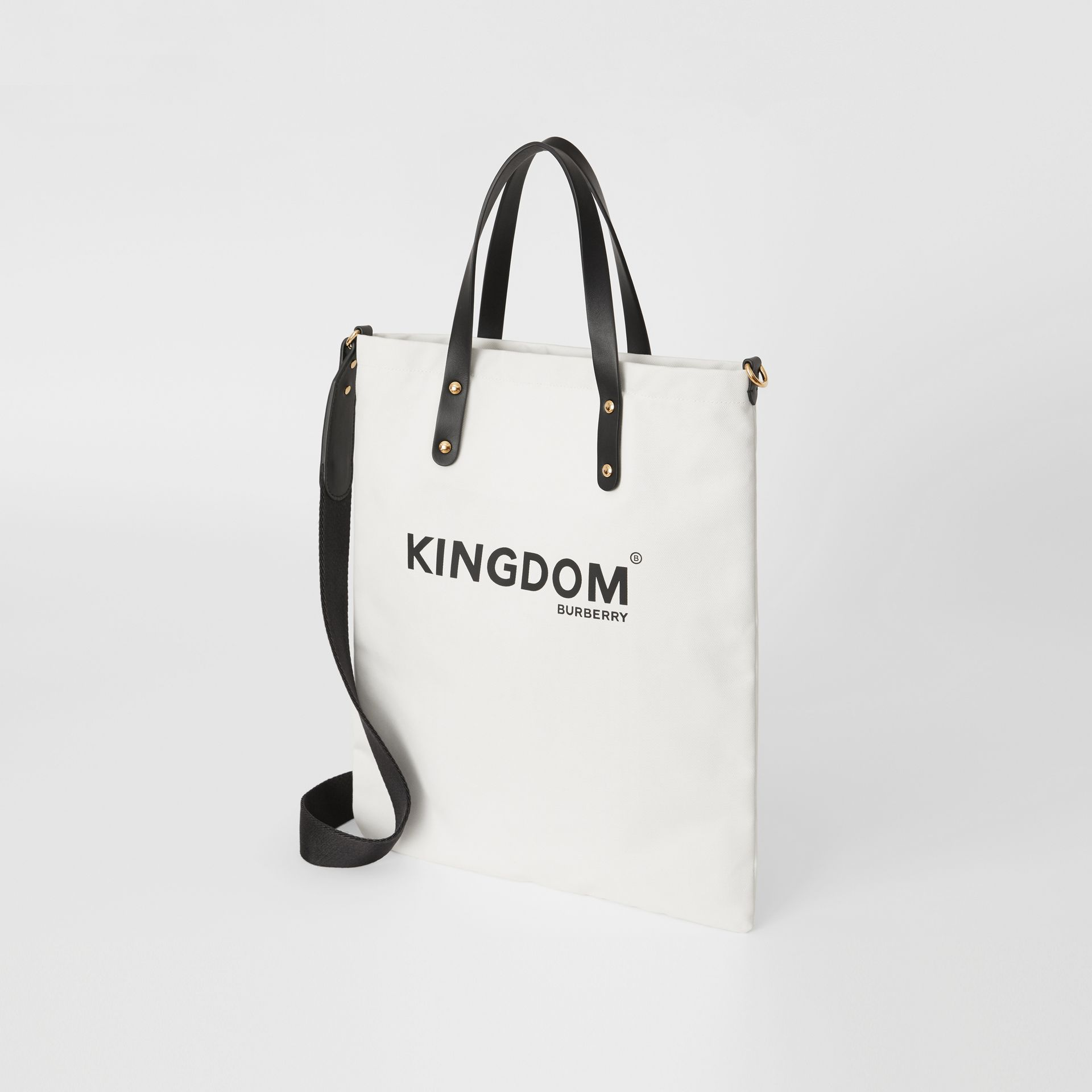 Kingdom Print Cotton Tote in Black | Burberry United Kingdom - gallery image 2