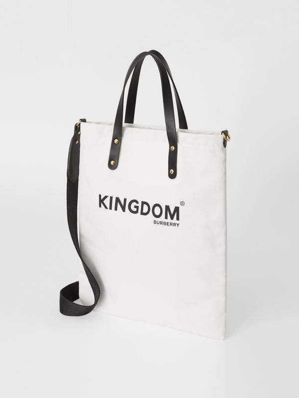 Kingdom Print Cotton Tote in Black | Burberry - cell image 2