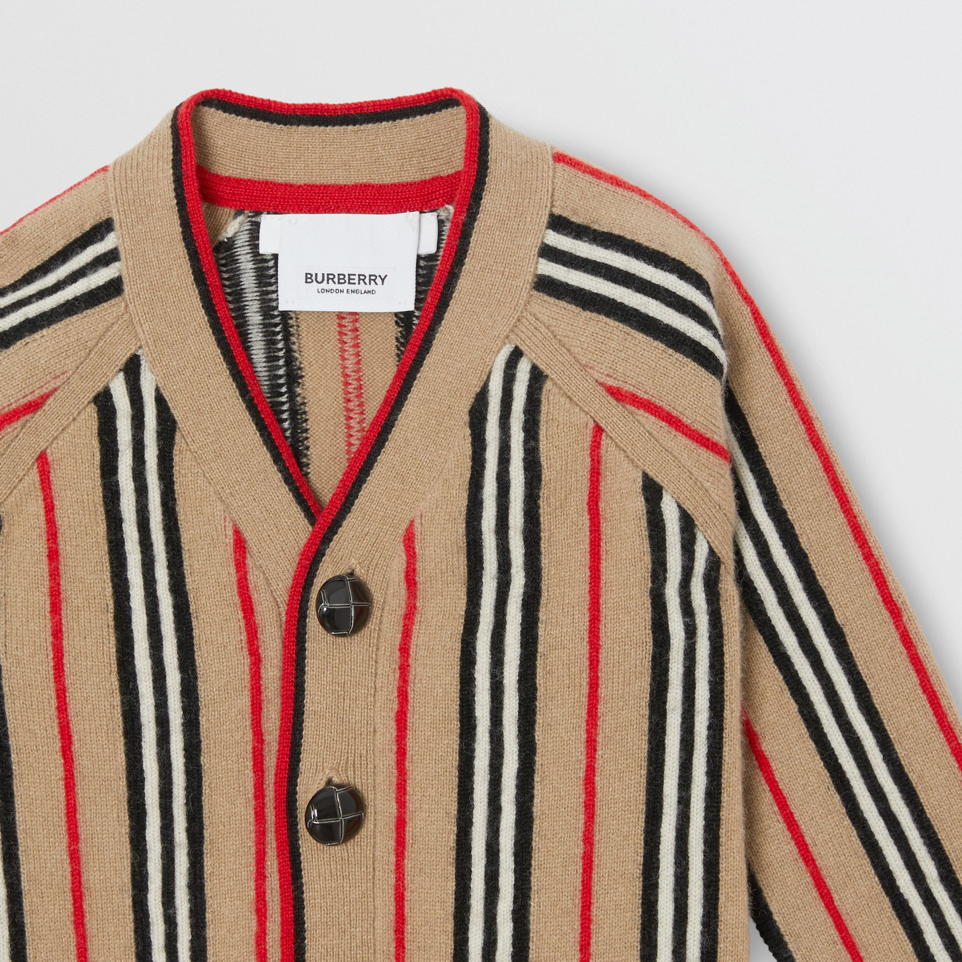 Icon Stripe Wool Cashmere Cardigan in Archive Beige - Children | Burberry Singapore - gallery image 4