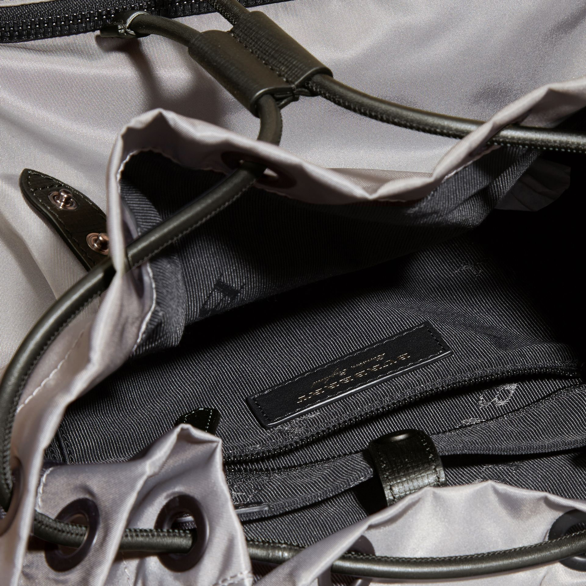 The Large Rucksack in Technical Nylon and Leather Thistle Grey - gallery image 6
