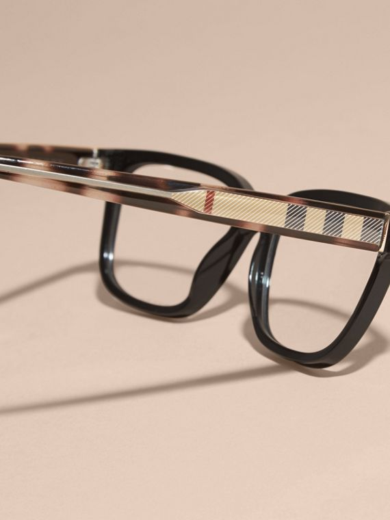 Black Check Detail Rectangular Optical Frames Black - cell image 3