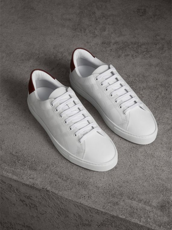 Perforated Check Leather Trainers in Optic White - Men | Burberry