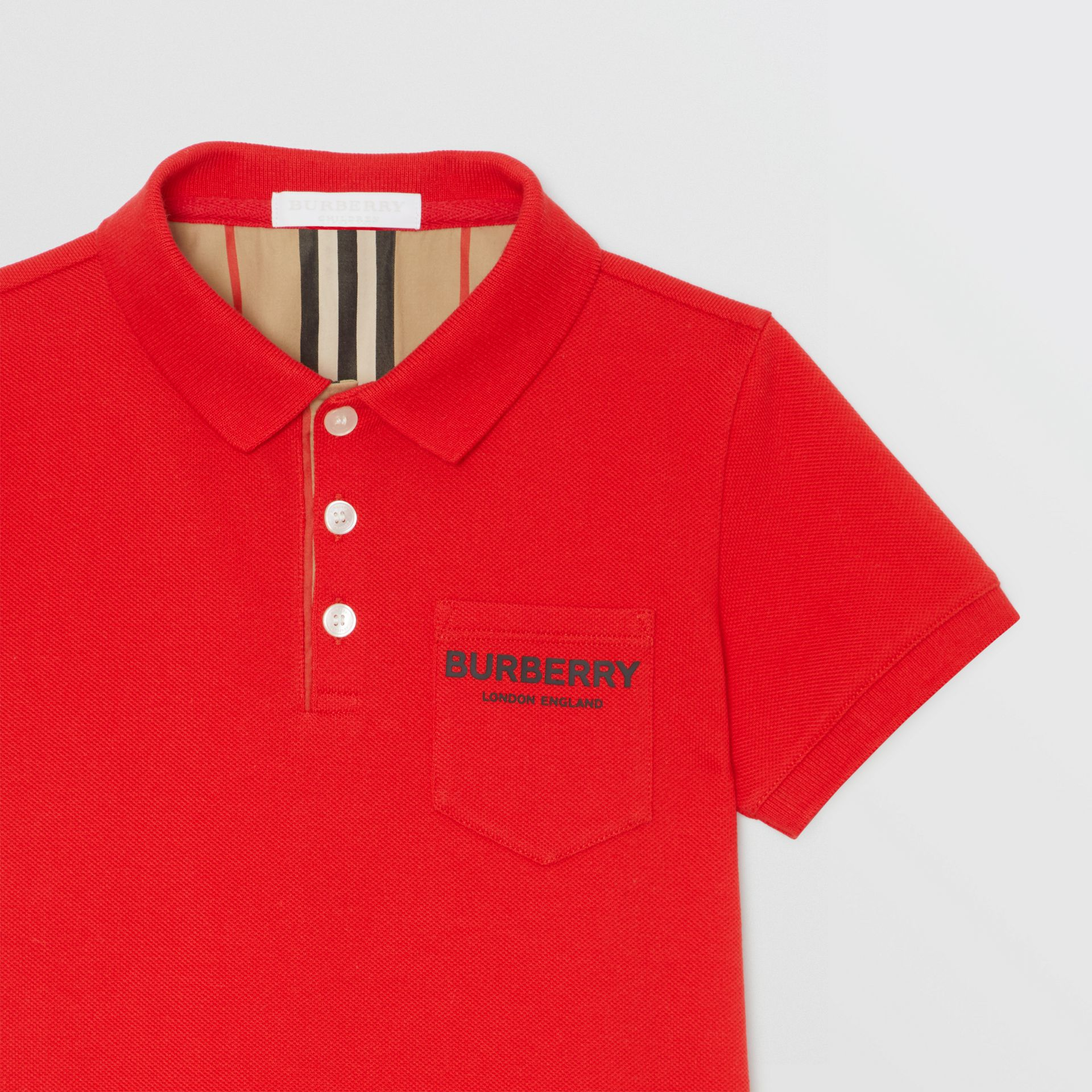 Icon Stripe Placket Cotton Piqué Polo Shirt in Bright Red - Boy | Burberry - gallery image 4