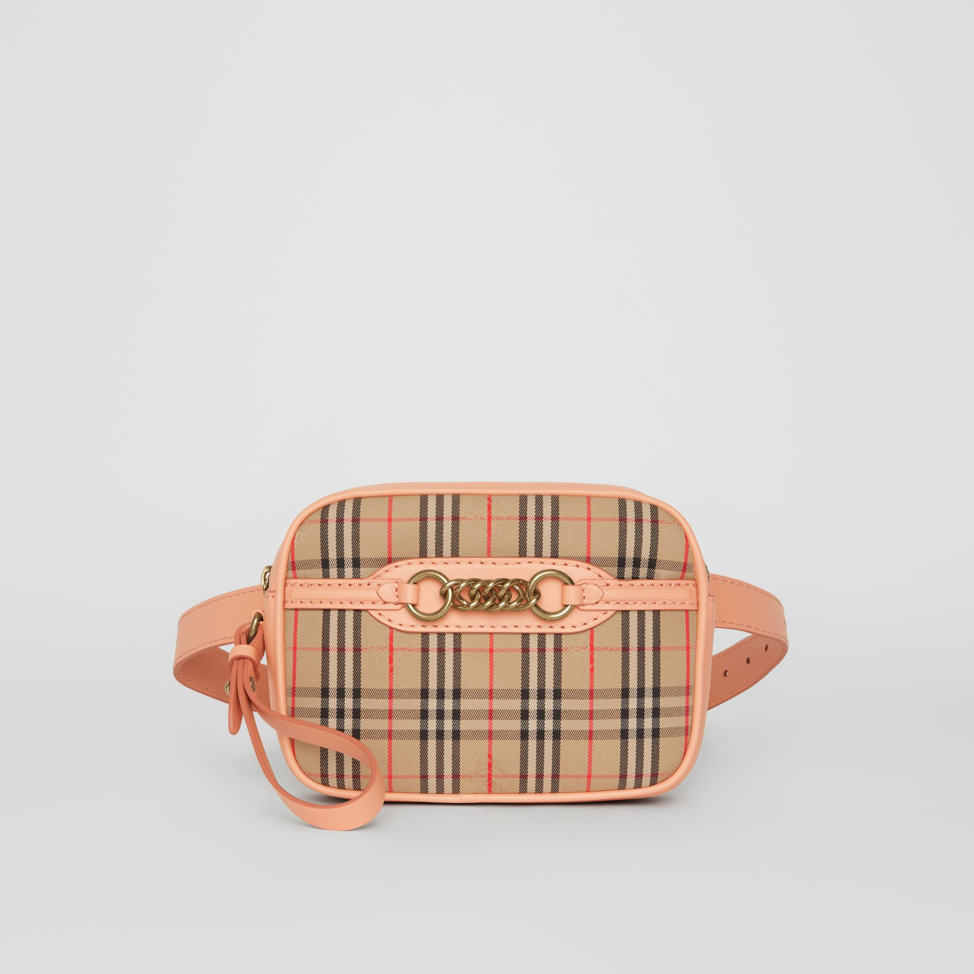 The 1983 Check Link Bum Bag with Leather Trim in Peach - Women | Burberry - gallery image 4