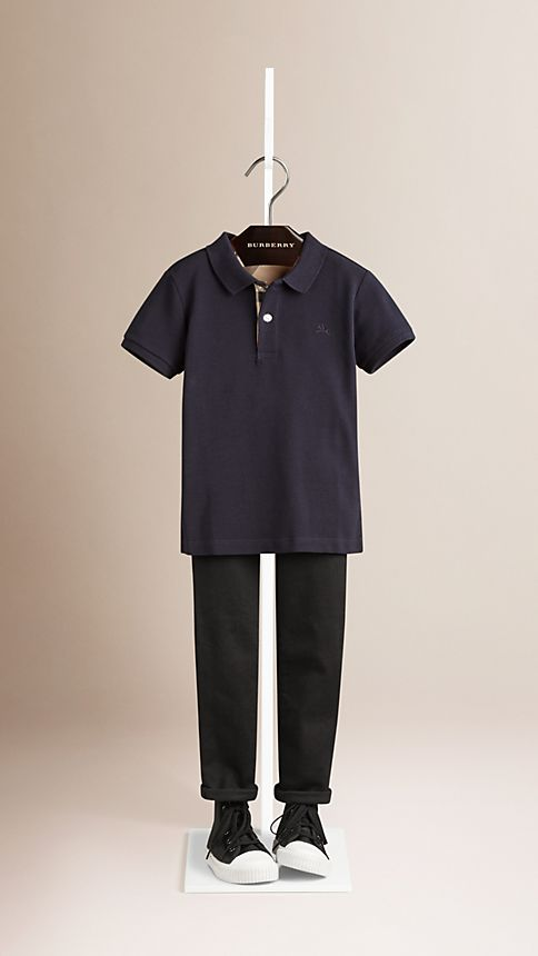 True navy Check Placket Polo Shirt - Image 1