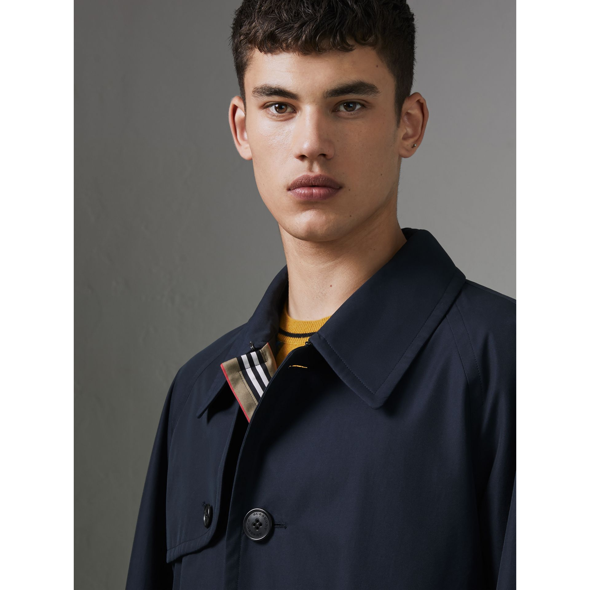 Heritage Stripe Cotton Gabardine Trench Coat in Navy - Men | Burberry - gallery image 1