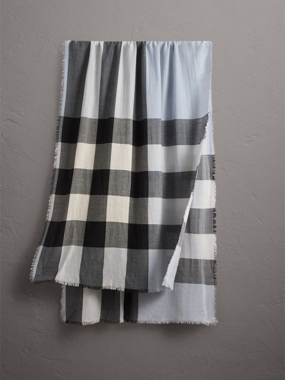 Lightweight Check Cashmere Scarf in Dusty Blue