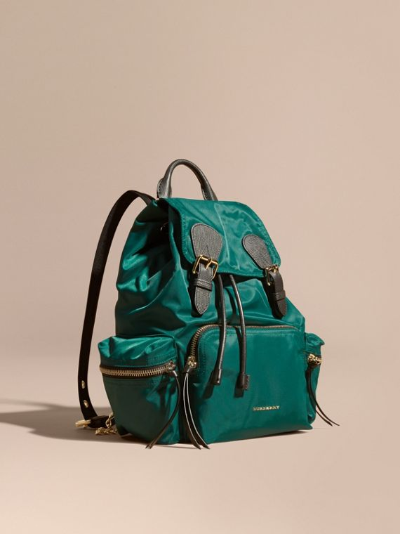 The Medium Rucksack in Technical Nylon and Leather in Pine Green