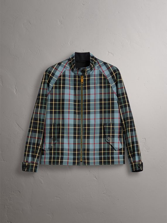 Tartan Cotton Gabardine Jacket in Cyan Blue - Women | Burberry - cell image 3