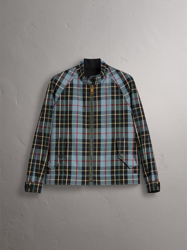 Tartan Cotton Gabardine Jacket in Cyan Blue - Women | Burberry - cell image 3