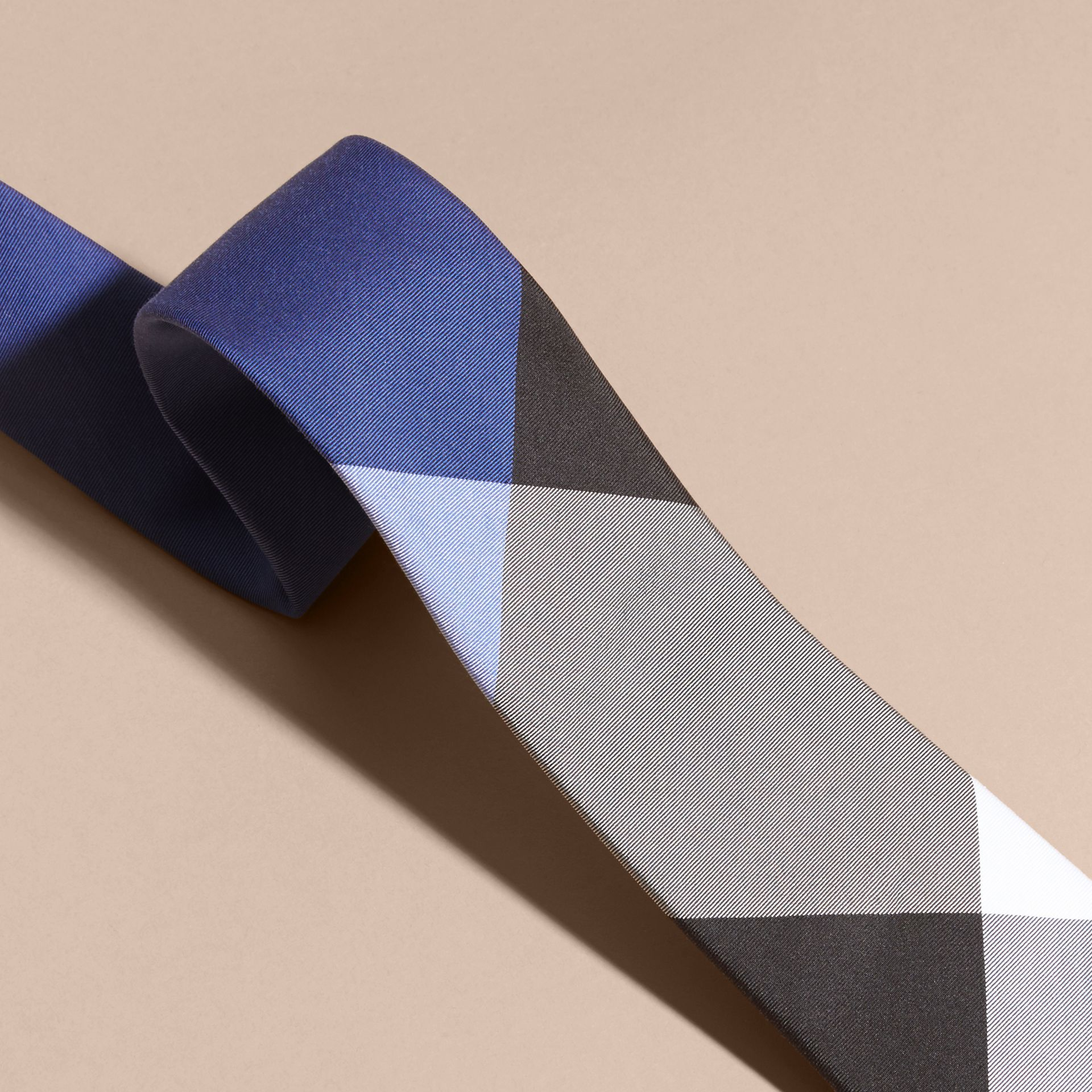 Chalk blue Slim Cut Check Silk Cotton Tie Chalk Blue - gallery image 2