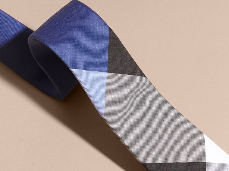 Chalk blue Slim Cut Check Silk Cotton Tie Chalk Blue - cell image 1