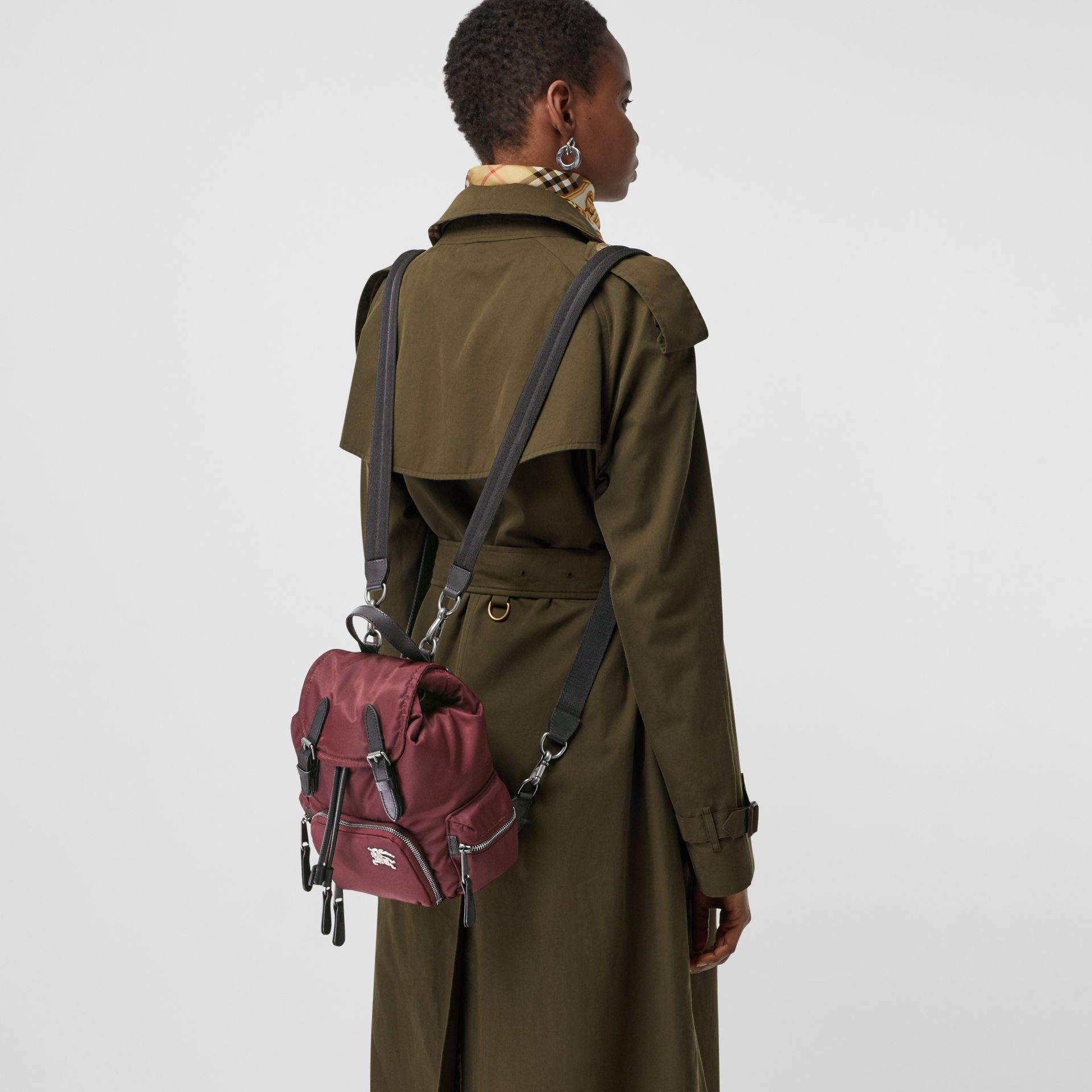 The Small Crossbody Rucksack in Puffer Nylon in Burgundy Red - Women | Burberry United Kingdom - gallery image 6