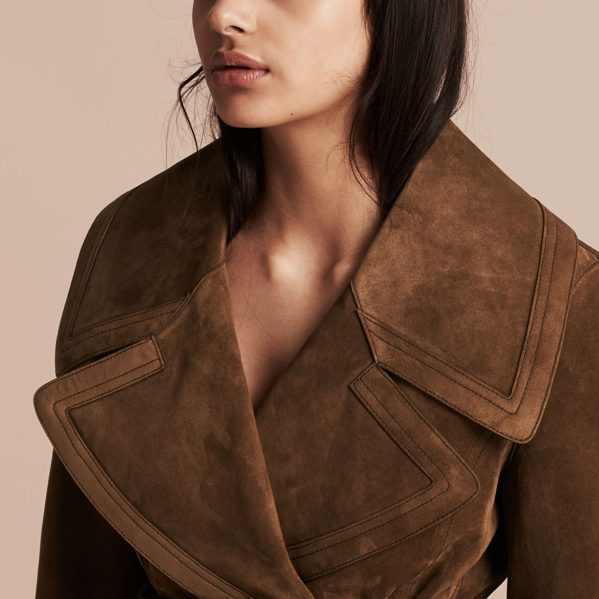 Charcoal brown Double-breasted Suede Coat - gallery image 5