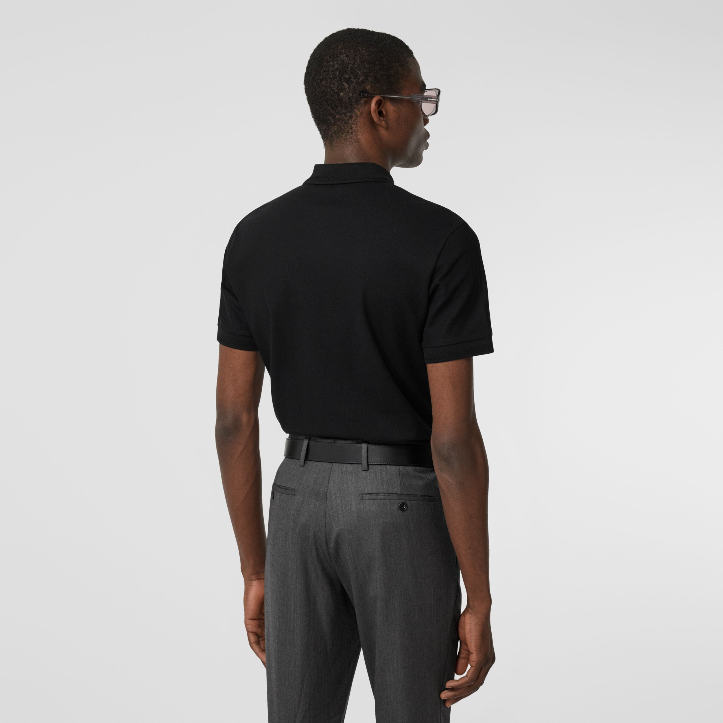 Cotton Piqué Polo Shirt in Black - Men | Burberry - 3