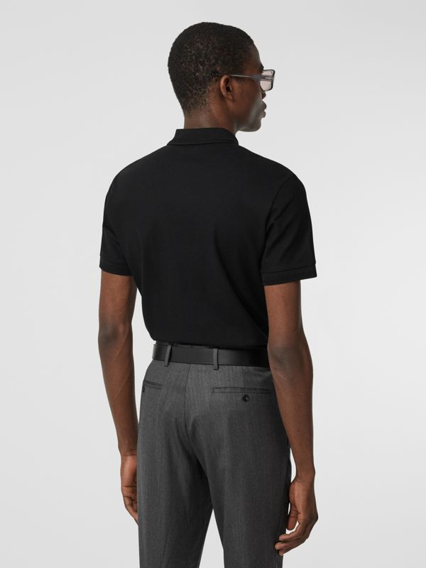 Cotton Piqué Polo Shirt in Black - Men | Burberry United Kingdom - cell image 2