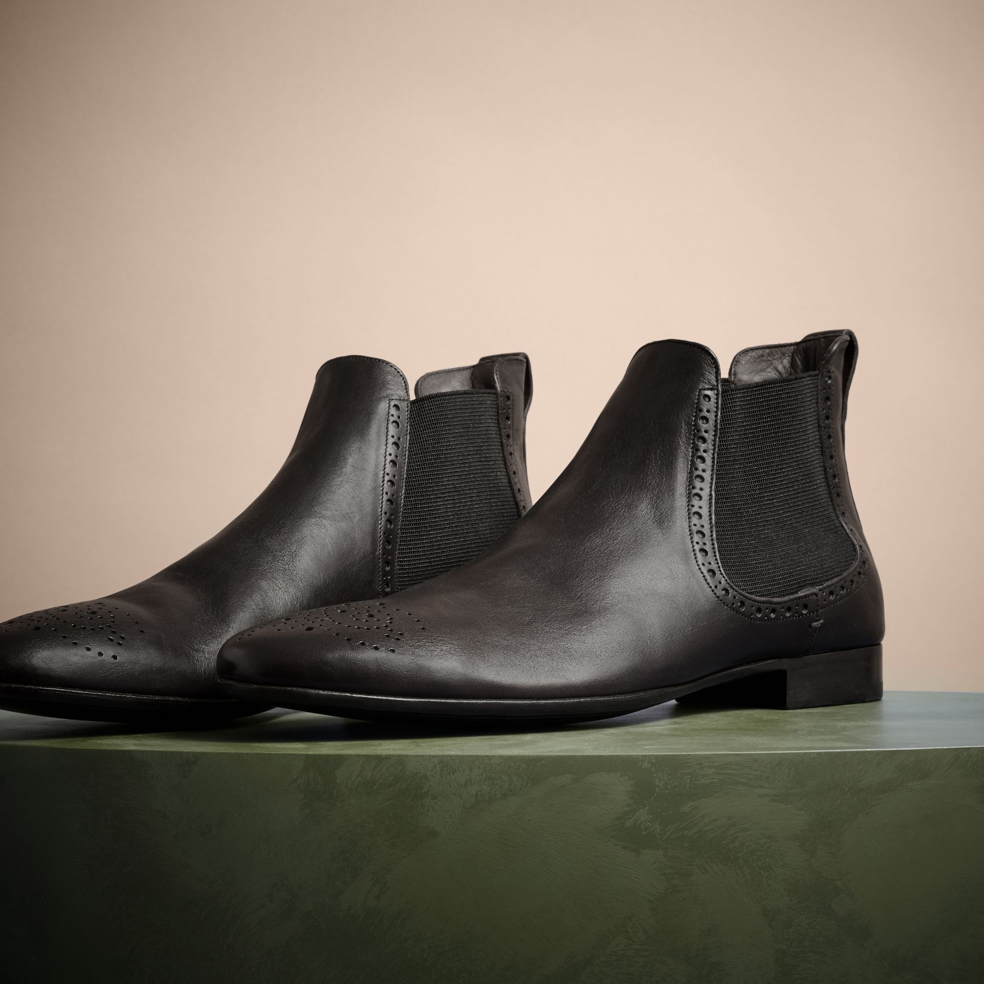 Ebony Washed-leather Chelsea Boots - gallery image 3