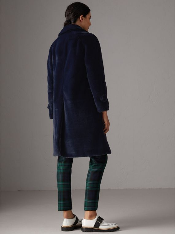 Faux Fur Single-breasted Car Coat in Navy - Women | Burberry - cell image 2