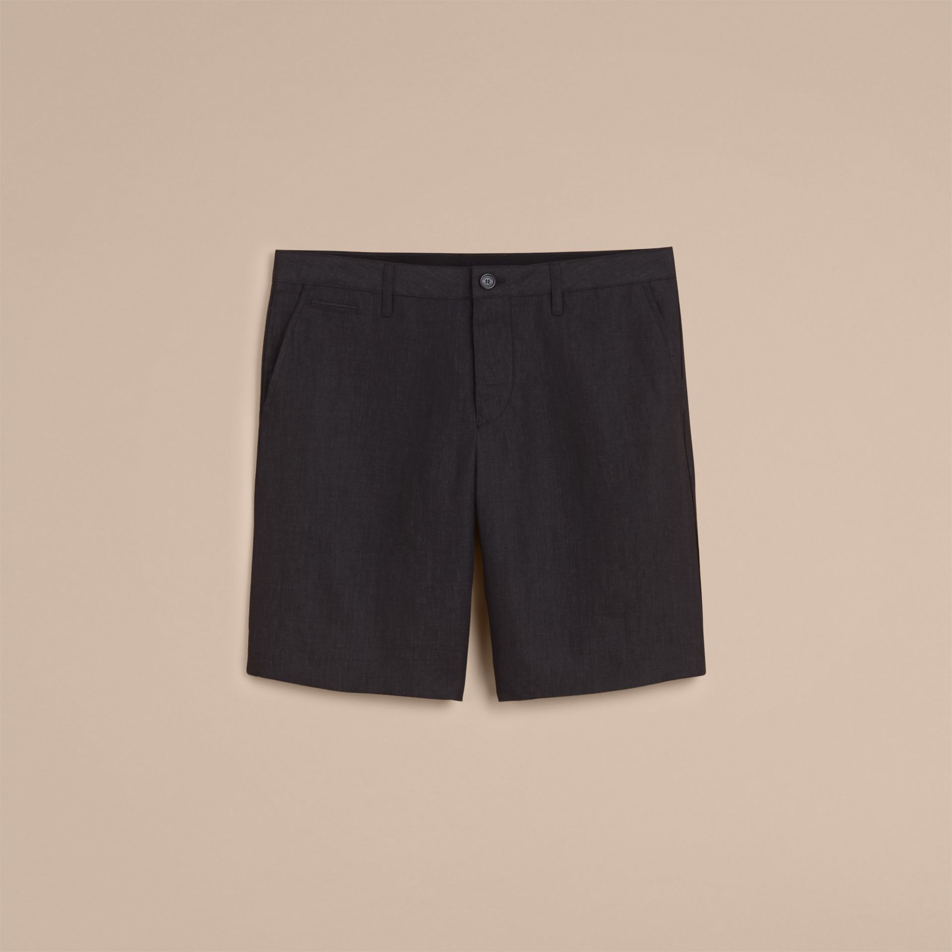 Lightweight Linen Shorts in Charcoal - Men | Burberry - gallery image 4