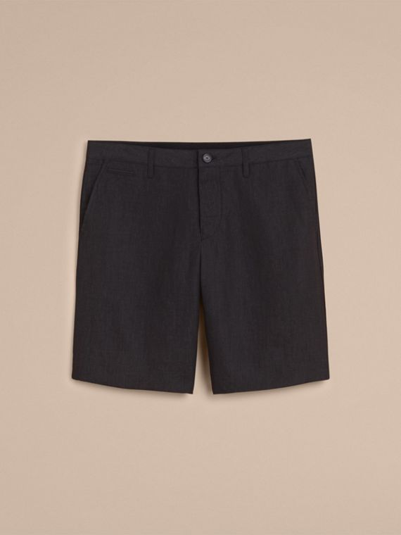 Lightweight Linen Shorts in Charcoal - Men | Burberry - cell image 3