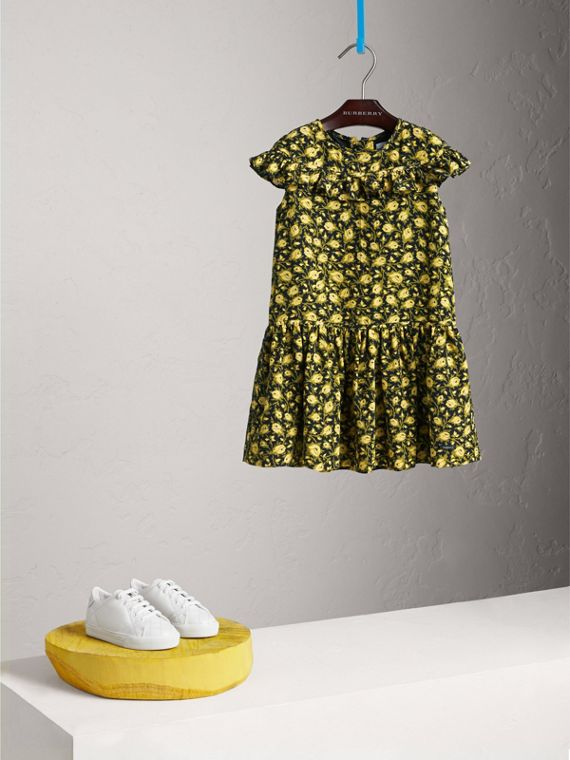 Frilled Floral Print Silk Dress in Pale Saffron Yellow