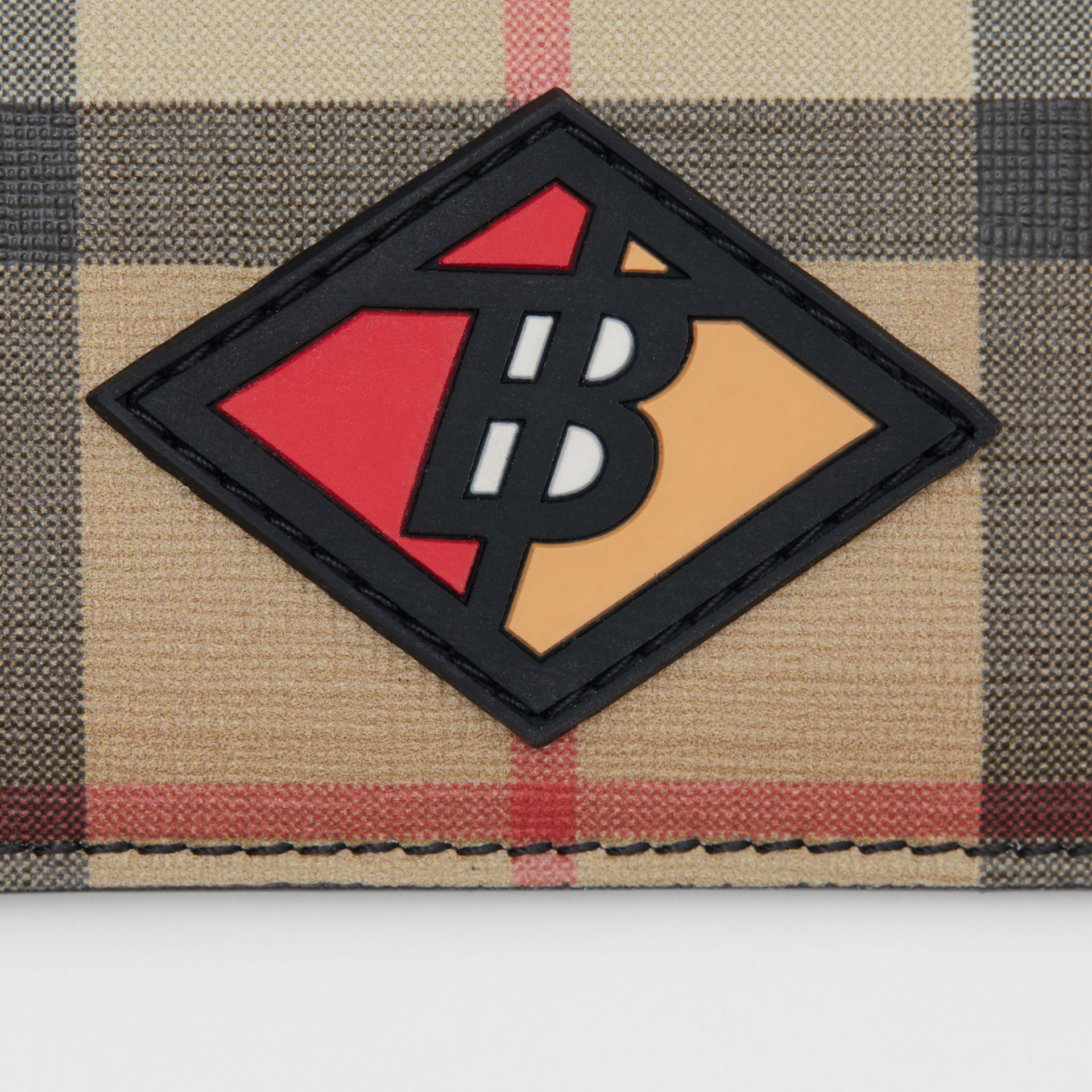 Logo Graphic Vintage Check E-canvas Card Case in Archive Beige | Burberry - gallery image 1