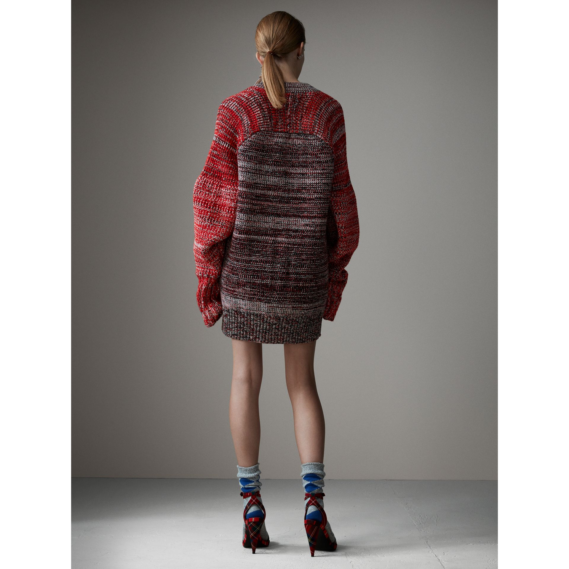 Cashmere Wool Blend Mouliné Oversized Cardigan in Red/black - Women | Burberry - gallery image 2