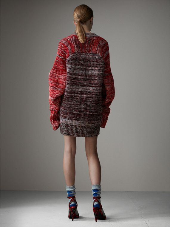 Cashmere Wool Blend Mouliné Oversized Cardigan in Red/black - Women | Burberry Australia - cell image 2