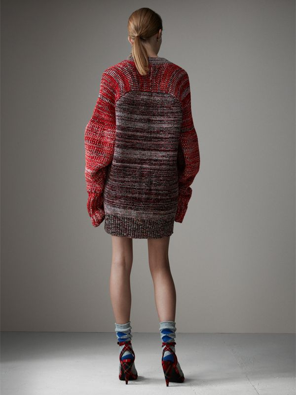 Cashmere Wool Blend Mouliné Oversized Cardigan in Red/black - Women | Burberry - cell image 2