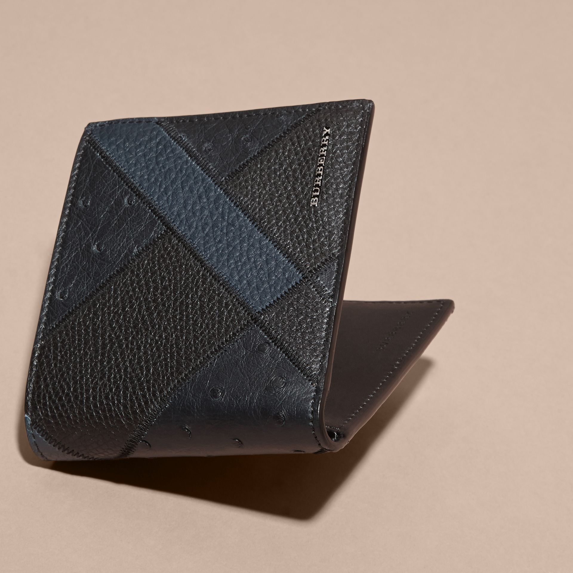 Dark navy Ostrich Leather Patchwork Folding Wallet - gallery image 3