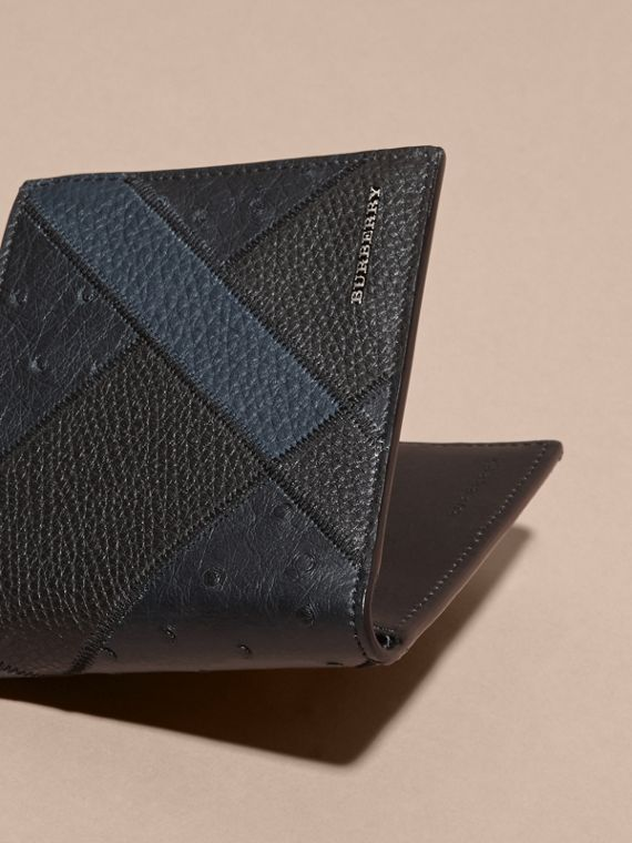 Dark navy Ostrich Leather Patchwork Folding Wallet - cell image 2