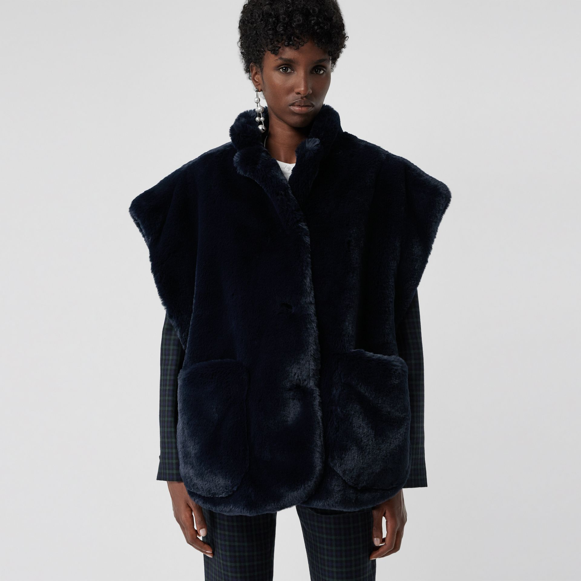 Stand Collar Faux Fur Cape in Navy - Women | Burberry - gallery image 4