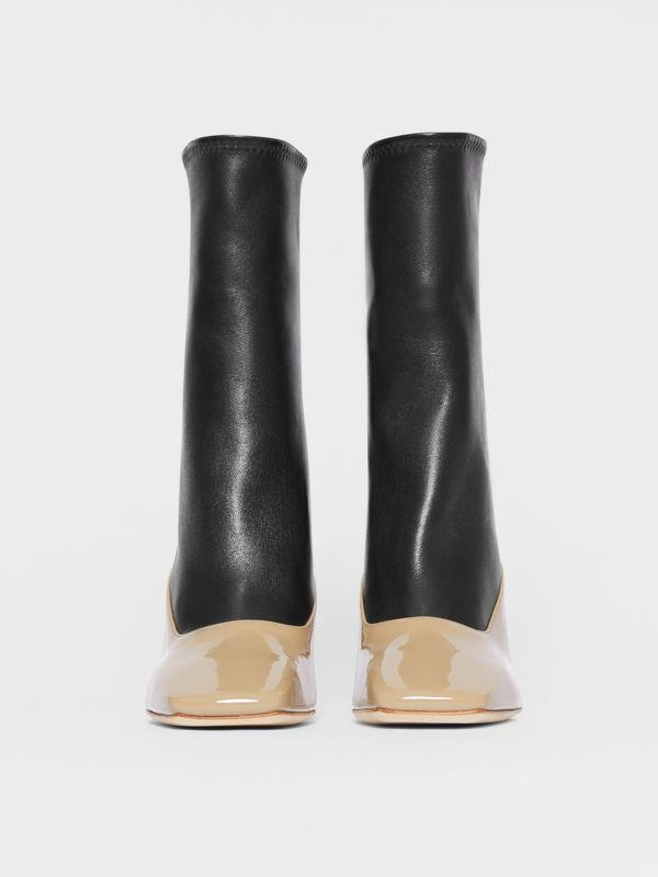 Two-tone Lambskin and Patent Leather Ankle Boots in Dark Honey/black - Women | Burberry - cell image 3