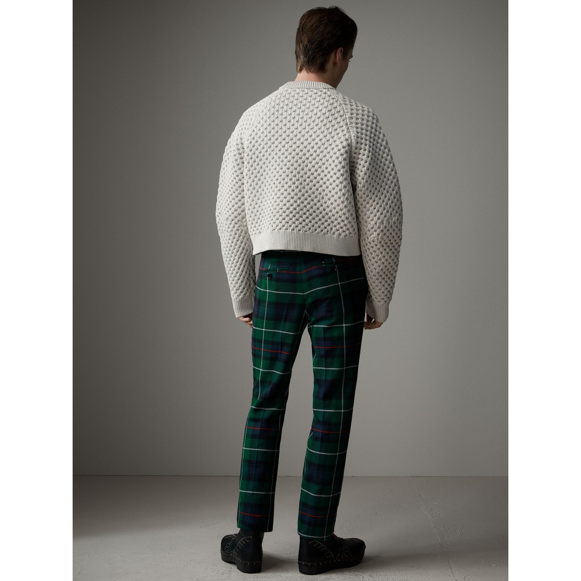 Tartan Wool Cropped Tailored Trousers in Forest Green - Men | Burberry - gallery image 3