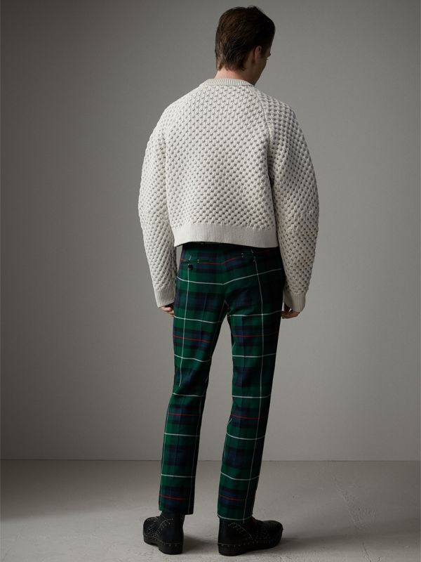 Tartan Wool Cropped Tailored Trousers in Forest Green - Men | Burberry - cell image 2