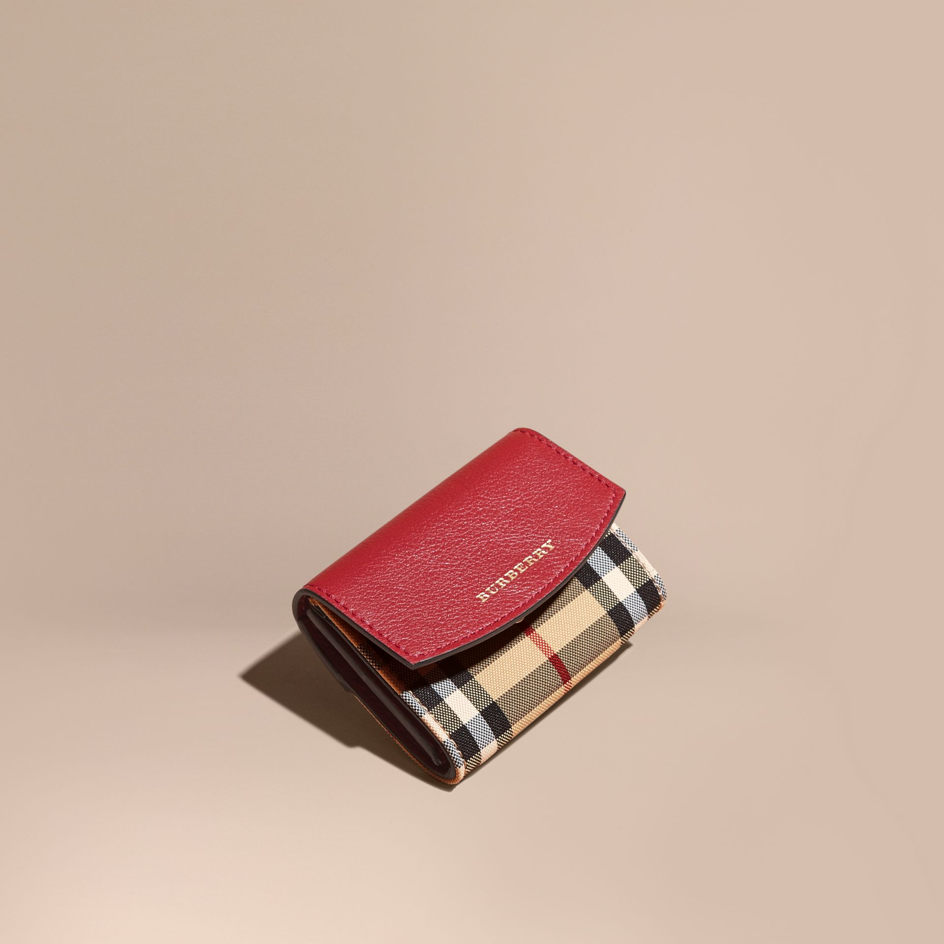 Horseferry Check and Leather Card Case Parade Red - gallery image 1
