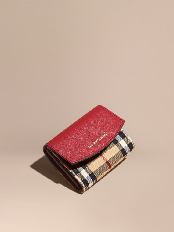 Horseferry Check and Leather Card Case in Parade Red