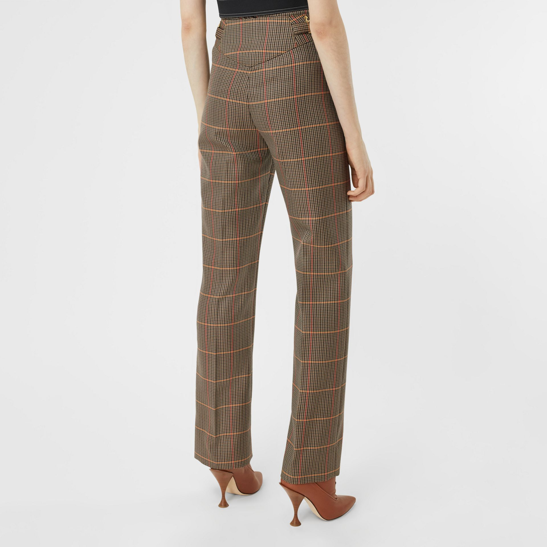 Houndstooth Check Wool Blend Tailored Trousers in Dark Brown - Women | Burberry - gallery image 2