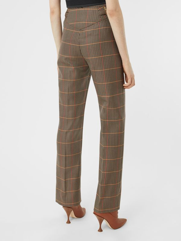Houndstooth Check Wool Blend Tailored Trousers in Dark Brown - Women | Burberry - cell image 2