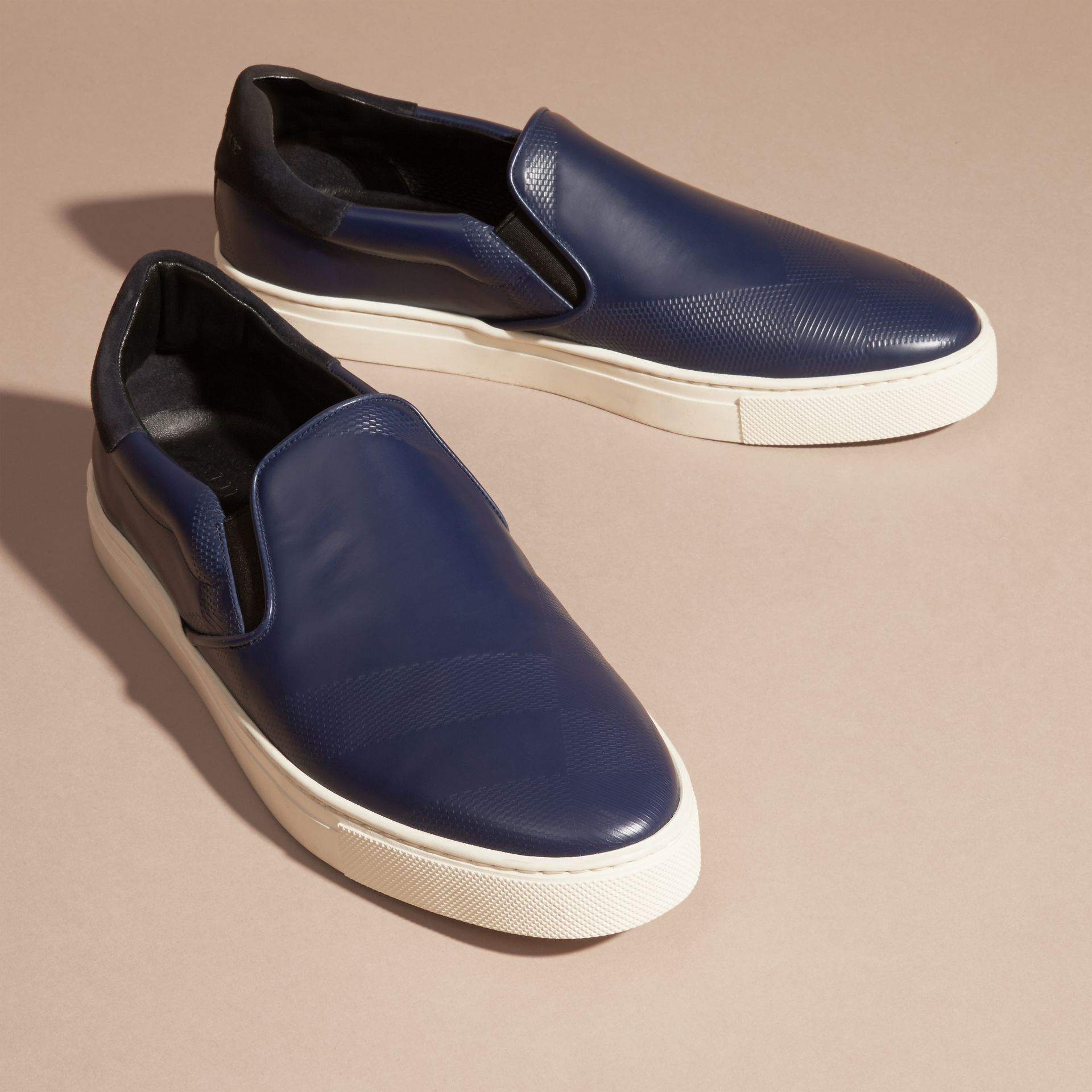 Lapis blue Check-embossed Leather Slip-on Trainers - gallery image 3