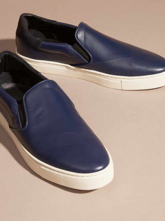 Lapis blue Check-embossed Leather Slip-on Trainers - cell image 2