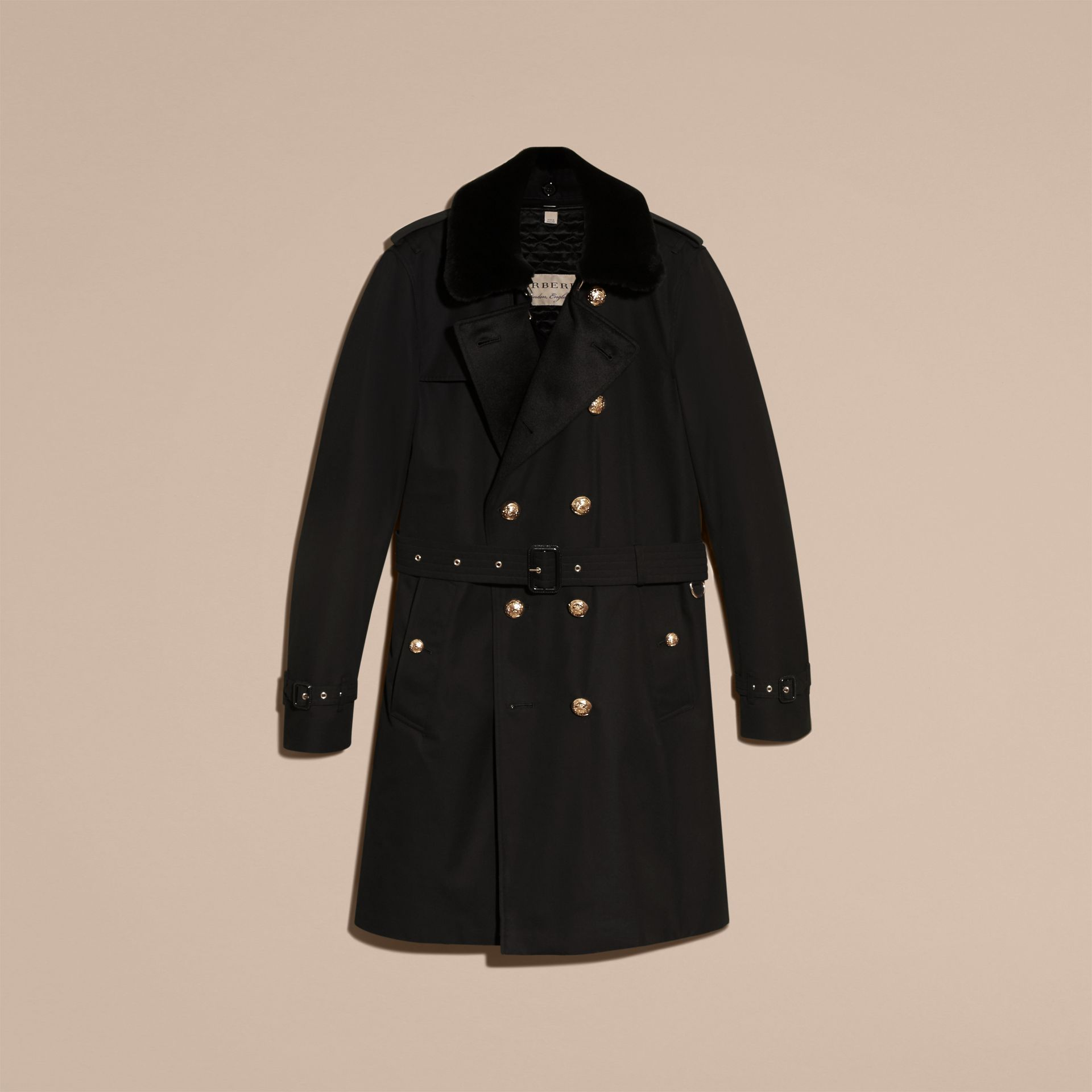 Black Military Trench Coat with Detachable Mink Collar and Warmer - gallery image 4