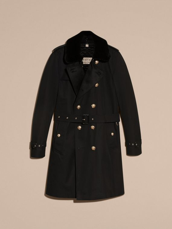Black Military Trench Coat with Detachable Mink Collar and Warmer - cell image 3