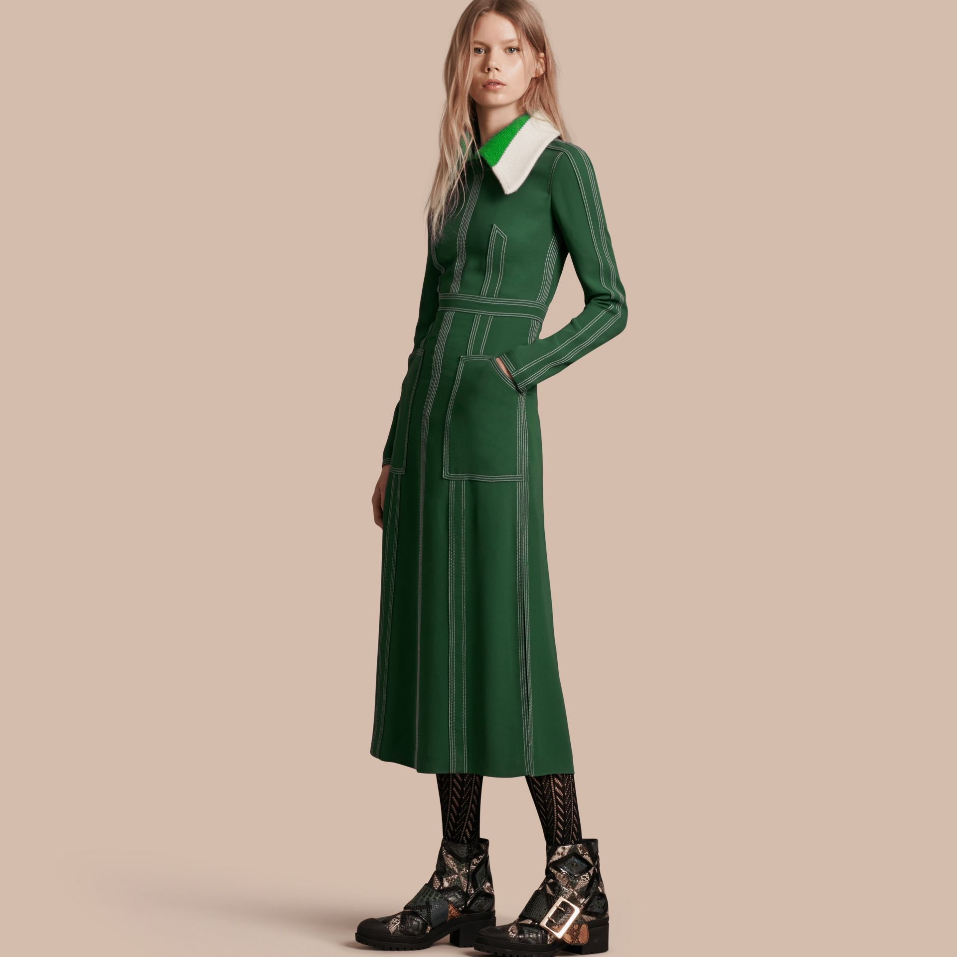 Deep green Topstitch Detail Georgette Dress with Knitted Collar - gallery image 1