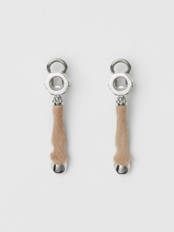 Серьги-подвески с покрытием из палладия и отделкой из телячьей шкуры (Палладий / Медовый)