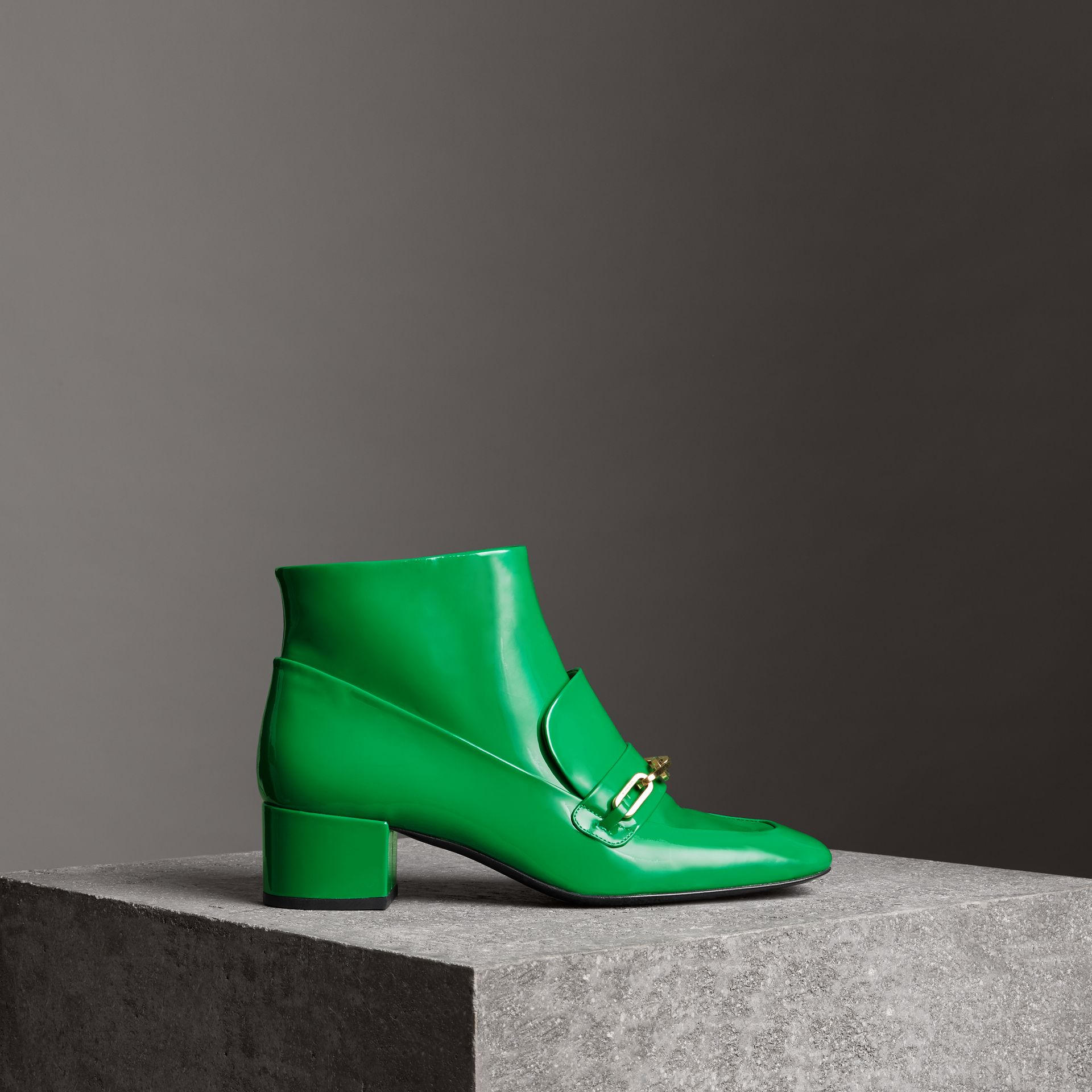Link Detail Patent Leather Ankle Boots in Bright Pigment Green - Women | Burberry - gallery image 0