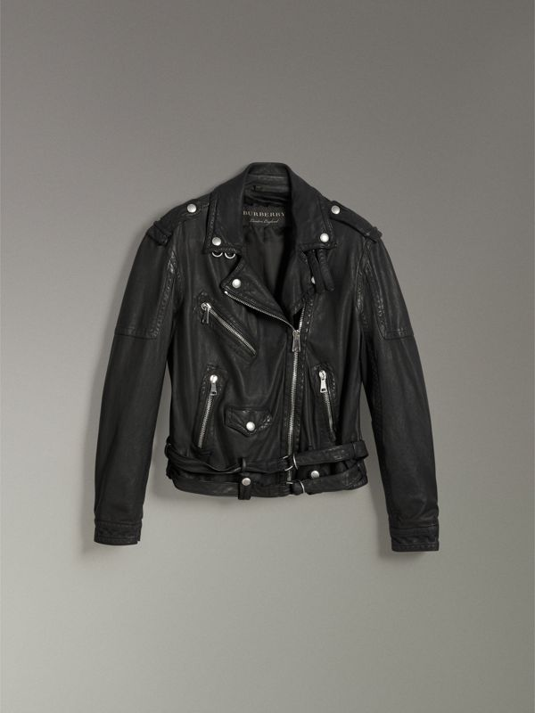 Reissued Fitted Leather Biker Jacket in Black - Women | Burberry - cell image 3
