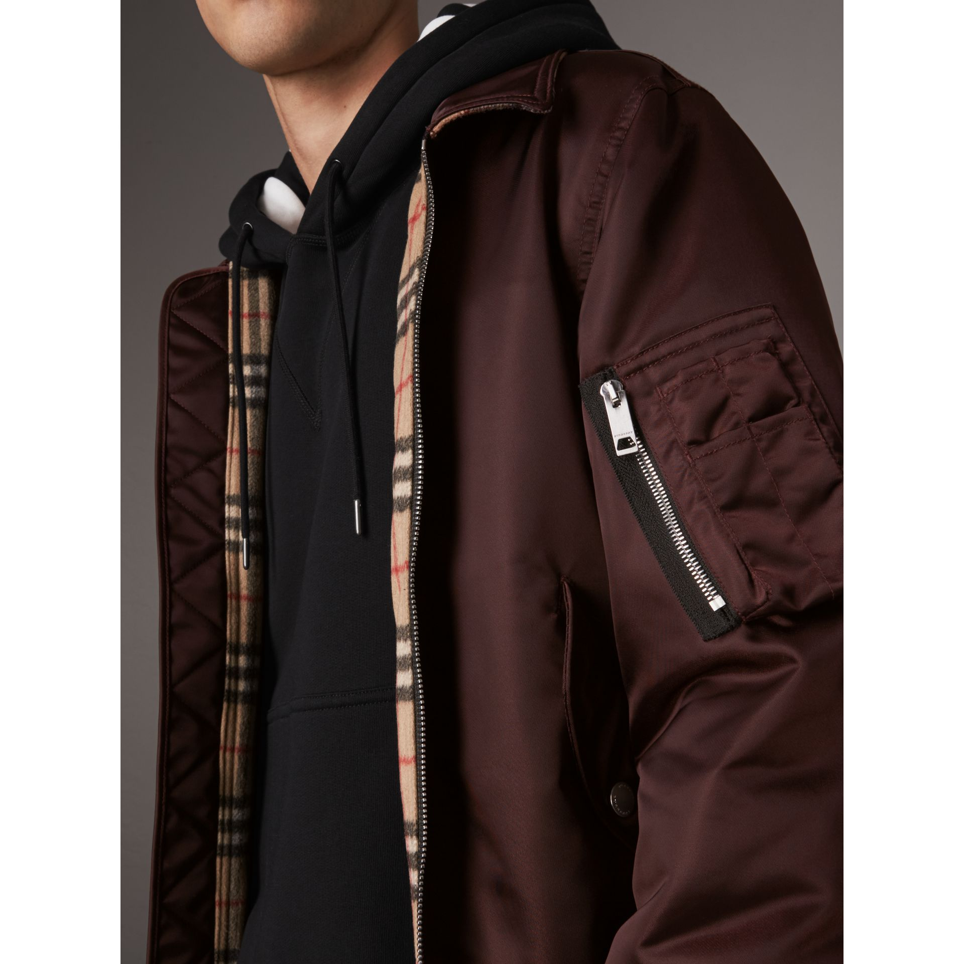 Point Collar Bomber Jacket in Claret - Men | Burberry - gallery image 5