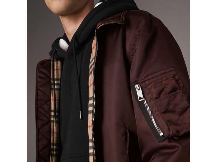 Point Collar Bomber Jacket in Claret - Men | Burberry Canada - cell image 4