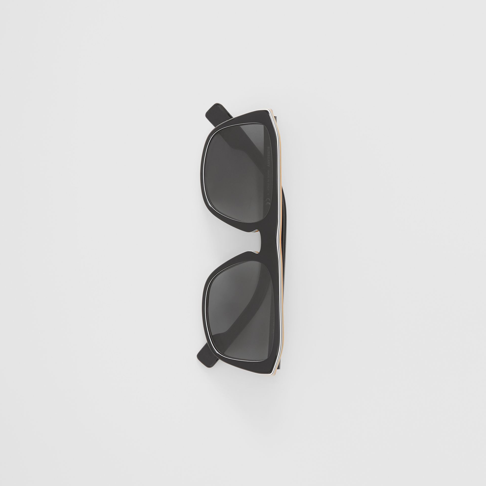 Icon Stripe Detail Square Frame Sunglasses in Black - Men | Burberry United Kingdom - gallery image 2